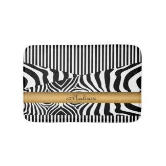 Named Zebra and Stripes Bathroom Mat