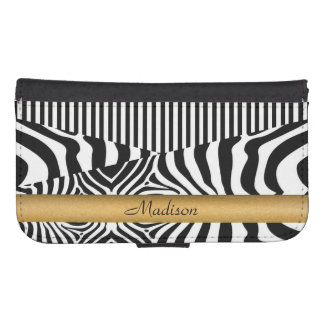 Named Zebra and Stripes Wallet Phone Case For Samsung Galaxy S4