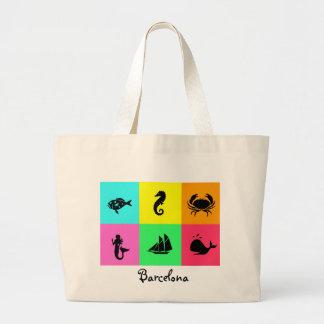 Namedrop Nation_Barcelona_multi-color Tote Bags