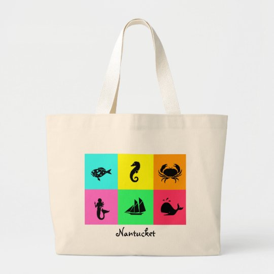 Namedrop Nation_Nantucket_multi-color Large Tote Bag