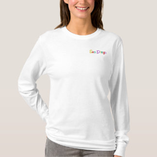 Namedrop Nation_San Diego multi-colored Embroidered Long Sleeve T-Shirt