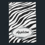 "Nameplate Design Black &amp; White Zebra Print Towel<br><div class=""desc"">An stylish zebra print kitchen towel in black &amp; white with a silver-design nameplate,  personalized with your name or text. (The nameplate is a printed illustration. Not reflective or real silver.)</div>"