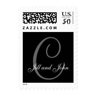 Names and Initial C Monogram Stamp Black and Grey
