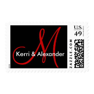 Names and Initial Monogram Stamp Black and Red