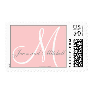 Names and Initial Monogram Stamp Pink and Grey