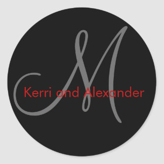 Names and Initial Monogram Sticker Black and Red