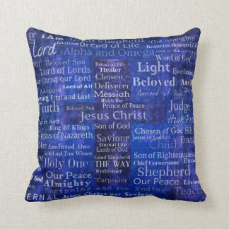 Names and titles of Jesus BLUE CROSS ART Throw Pillow