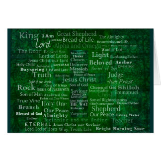 Names and titles of Jesus with green cross Cards