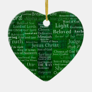 Names and titles of Jesus with green cross Ceramic Ornament