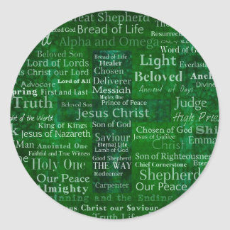 Names and titles of Jesus with green cross Classic Round Sticker