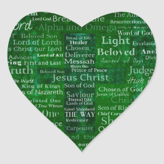 Names and titles of Jesus with green cross Heart Sticker