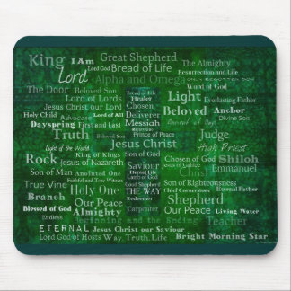 Names and titles of Jesus with green cross Mouse Pad