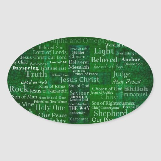 Names and titles of Jesus with green cross Oval Sticker