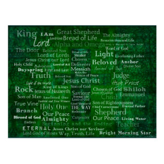 Names and titles of Jesus with green cross Postcard