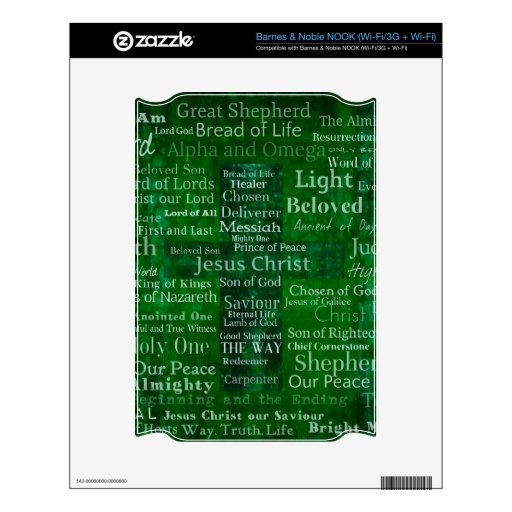 Names and titles of Jesus with green cross NOOK Decals