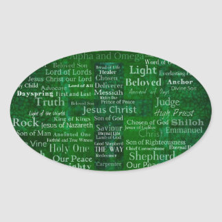 Names and titles of Jesus with green cross Oval Stickers