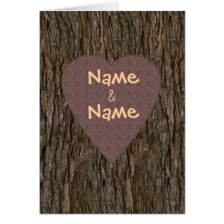 Names Carved In Tree Card - Brown