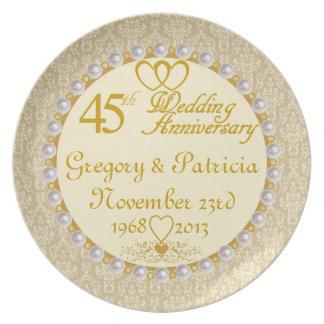 (NAMES/DATES) 45.a placa PERSONALIZADA del anivers Plato Para Fiesta