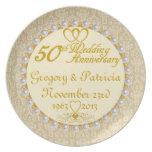 (NAMES/DATES) 50.a placa PERSONALIZADA del anivers Plato De Cena