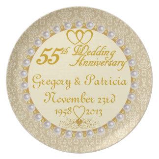 (NAMES/DATES) 55.a placa PERSONALIZADA del anivers Plato De Comida