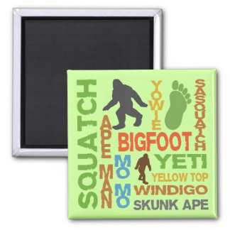 Names For Bigfoot 2 Inch Square Magnet