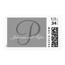 Names Grey Monogram Wedding Postage