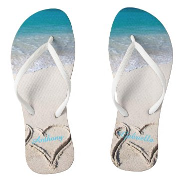 Beach Themed Names In Heart int he Sand Personalized Flip Flops