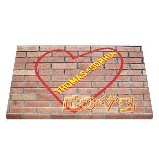 Names in Heart Love Graffiti Brick Wall Art Canvas