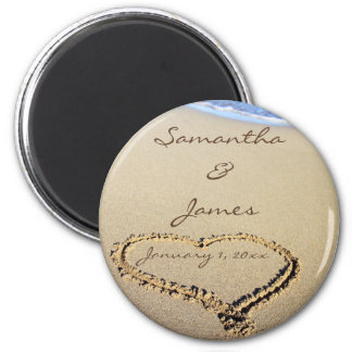 Names in the Sand Personal Round Wedding Magnet