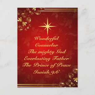Bible verse christmas cards zazzle names of god bible verse isaiah 96 christmas holiday postcard m4hsunfo
