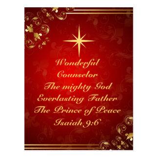 Names of God Bible Verse Isaiah 9:6, Christmas Postcard
