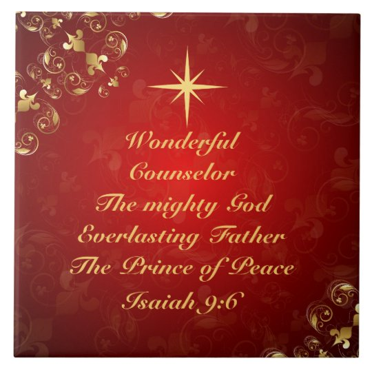 Christmas Tree In The Bible Scripture: Names Of God Bible Verse Isaiah 9:6, Christmas Tile