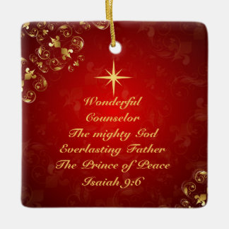 Names of God Bible Verse Isaiah 9:6, Personalized Ceramic Ornament