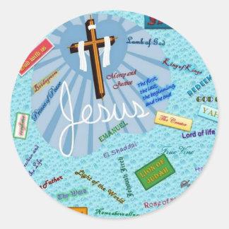 Names of God Classic Round Sticker