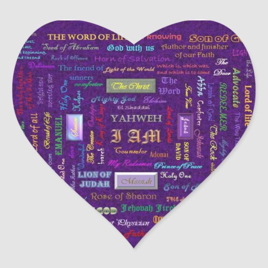 names of God heart stickers