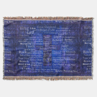 Names of Jesus - Contemporary Christian art Throw Blanket