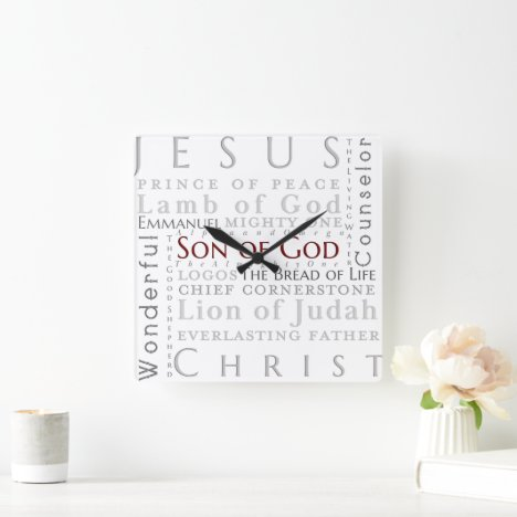 Names of Jesus Typography Clock