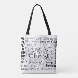 Names of Jesus Typography Tote Bag