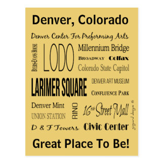 Names Of Places In Downtown Denver, CO Postcard
