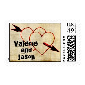 Names On Vintage Hearts Stamps