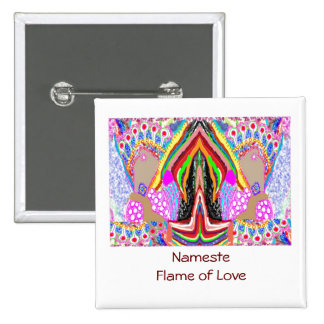 NAMESTE  -  Flame of Love Decorations 2 Inch Square Button
