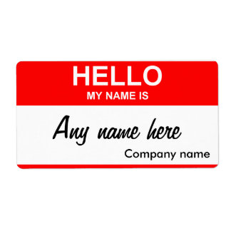 nametag labels, Any name here Label