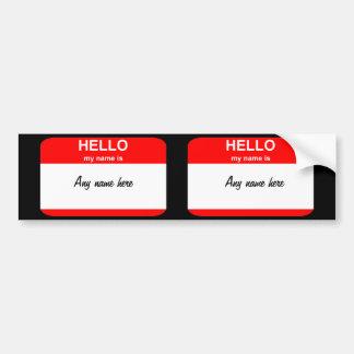 Nametag template bumper sticker