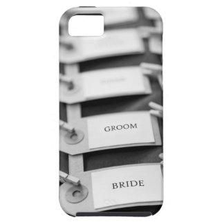 Nametags de novia y del novio iPhone 5 fundas