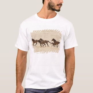 Namibia, Aus. Group of running wild horses on T-Shirt