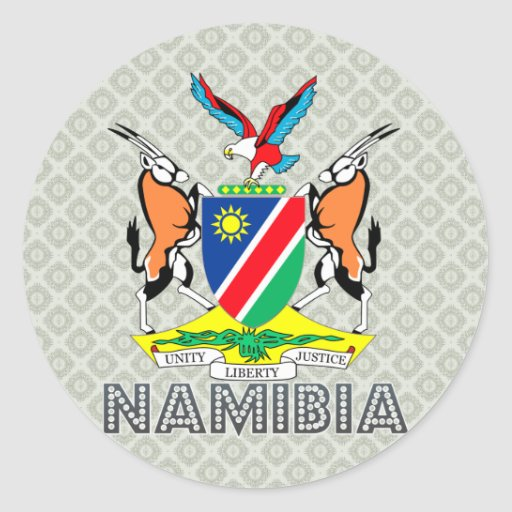Namibia Coat of Arms Round Stickers