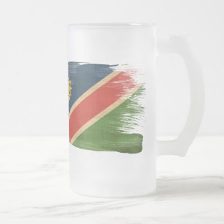 Namibia Flag Frosted Glass Beer Mug