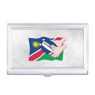 Namibia Flag Rugby Ball Cartoon Hands Business Card Holder