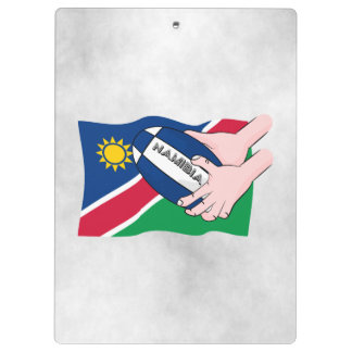 Namibia Flag Rugby Ball Cartoon Hands Clipboard
