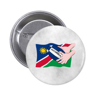 Namibia Flag Rugby Ball Cartoon Hands Pinback Button